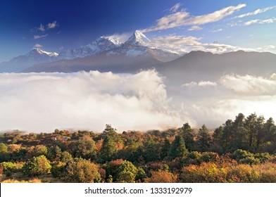 Nepal, Ghorepani, Poon Hill, Dhaulagiri massif, Himalaya, Annapurna South and Annapurna I, view from Poon Hill, Himalaya.