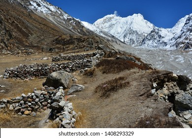 Nepal, Kanchenjunga trek. Beautiful landscapes near Lhonak village, startpoint to Kanchenjunga base camp.