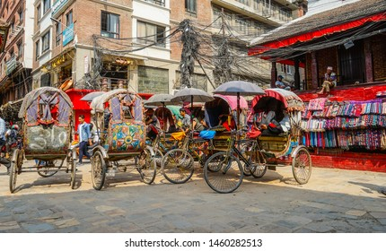 Nepal, Kathmandu, 3th of October 2018, Bicycle rickshaws in the  Thamel District are waiting for a seightseeing ride to Durbar Square.