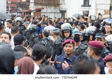 NEPAL, KATHMANDU, 5th SEPTEMBER 2017: Nepalese police officers at the celebration of  Indra (Kumari) Jatra festival at Durbar Square.