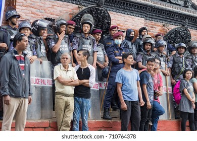 NEPAL, KATHMANDU, 5th SEPTEMBER 2017: Nepalese police officers at the celebration of  Indra (Kumari) Jatra festival at Durbar Square.