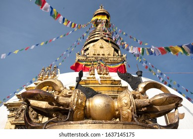 Nepal Kathmandu swayambhunath temple or Monkey temple is an ancient religious architecture  on hill in the Kathmandu Valley.Swayambhunath is a famous place tourist atrraction in Nepal.