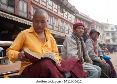 nepal katmandu 27 april 2019 Boudhanath temple Buddhist people are praying in the morning