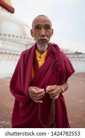 nepal katmandu boudhanath temple 21-04-2019 older buddhist people