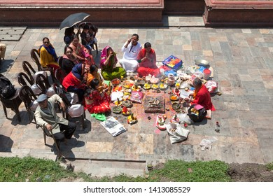 nepal katmandu pashupatinath temple 04-20-2019 hindu people are praying at pashupatinath temple