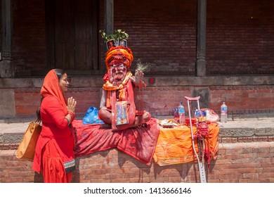 Nepal Katmandu Pashupatinath temple 04-20-2019 Hindu Sadhu Baba
