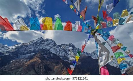 Nepal Khumbu valley Mende prayer flags