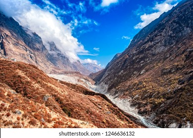 Nepal, Langtang valley with almost dry langtang river.