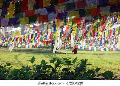 Nepal lumbini temple flag priest