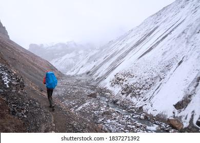Nepal, Male trekker at Annapurna Circuit trek, arriving to Thorong Phedi.