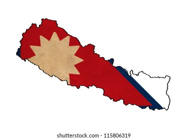 Nepal map on Nepal flag drawing ,grunge and retro flag series