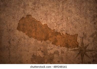 nepal map on a old vintage crack paper background