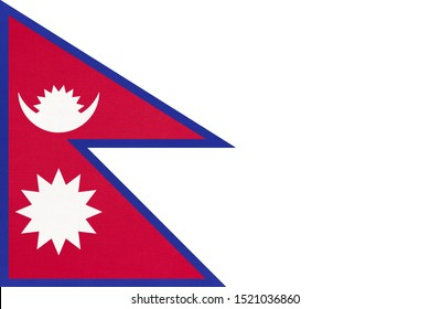 Nepal national fabric flag, textile background. Symbol of Asian international world country. Asia state official sign.