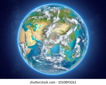 Nepal in red on model of planet Earth with clouds and atmosphere in space. 3D illustration. Elements of this image furnished by NASA.