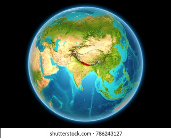 Nepal in red on planet Earth as seen from space on full sphere. 3D illustration. Elements of this image furnished by NASA.