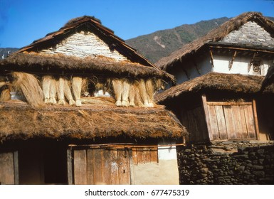 Nepalese mountain house in the Annapurna Himal in Nepal