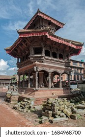 Nepalese newari architecture at Durbar Square of Bhaktapur - Nepal, listed as a World Heritage by UNESCO for its rich culture, temples, wood artwork.