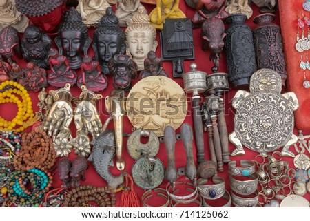 Nepalese Traditional Handicrafts Souvenirs Kathmandu Nepal Stock