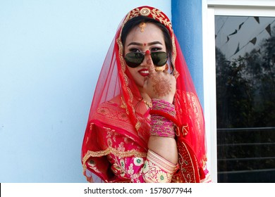 Nepali bride decorated in cultural attire for marriage ceremony, Nepali bride, Nepali cultural attire