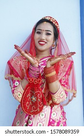 Nepali bride decorated in cultural attire for marriage ceremony, Nepali cultural dress and attire