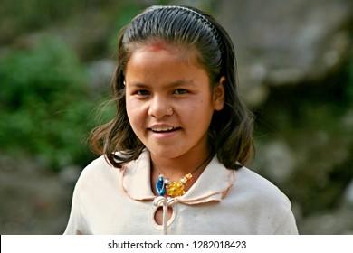 Nepali native young girl. Bhulbhule village. 23th March 2009. Nepal. Asia.