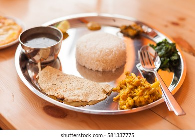 A Nepali Thali (Dal Bhat) set made with ingredients from Upper Mustang (Tibetan Plateau)