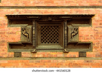 Nepali traditional wooden window and brick wall , visit Nepal, Nepal travel, traditional crafting