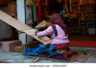 Nepali woman with a handlooms