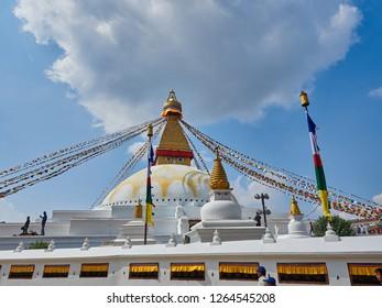 Nepal/Kathmandu - October 03.2018:   Boudhanath Stupa and prayer flags. Buddhist stupa of Boudha Stupa is one of the largest stupas in the world