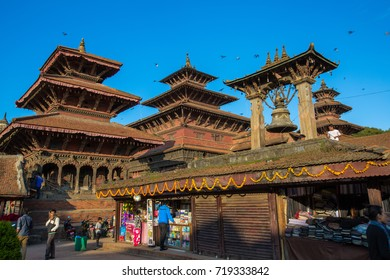 NEPAL-OCTOBER 23,2014: HERITAGE BUILDING AROUND BHAKTAPUR