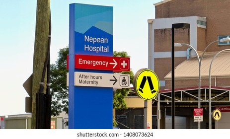 Nepean Hospital sign on Derby Street, Kingswood, New South Wales, Australia. Photo taken on 26 May 2019.