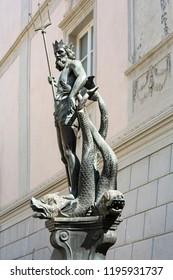 Neptune fountain in Bozen, Northern Italy, Europe