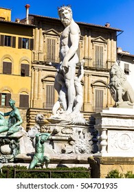 Neptune fountain of Florence in Tuscany