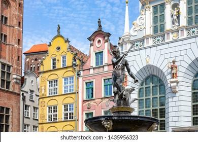 Neptune fountain in Gdansk (Danzig) Poland.