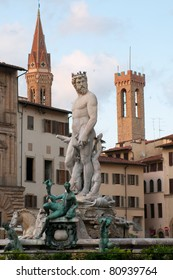 Neptune fountain on Piazza della Signoria in Florence, Tuscany, Italy.