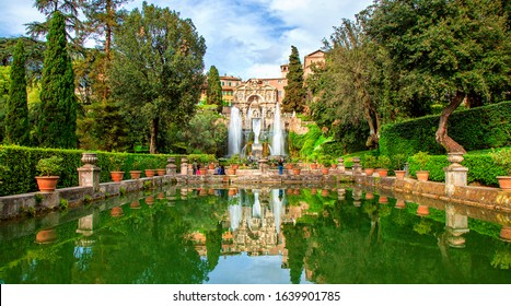 Neptune Fountain and Water Organ in the gardens at the Villa d'Este, Tivoli, Italy. UNESCO world heritage site.