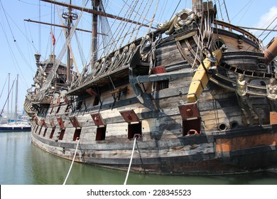 """The """"Neptune"""" Galleon, tourist attraction in the old port of Genoa, Italy"""