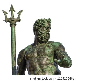 Neptune God of the Sea bronze statue with trident, from the Fountain of Neptune, erected in 1566 in the historic center of Bologna (isolated on white background)
