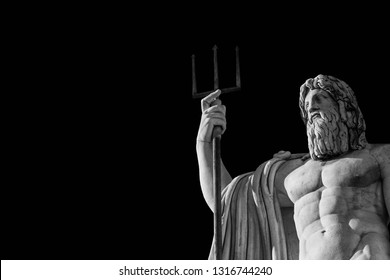 Neptune God of the Sea. Marble statue with trident erected in 1823 in People's Square in Rome (Black and White with copy space)