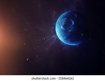 El Neptuno con lunas disparadas desde el espacio mostrando toda su belleza. Imagen extremadamente detallada, incluyendo elementos amueblados por la NASA. Otras orientaciones y planetas disponibles.