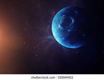 The Neptune with moons shot from space showing all they beauty. Extremely detailed image, including elements furnished by NASA. Other orientations and planets available.