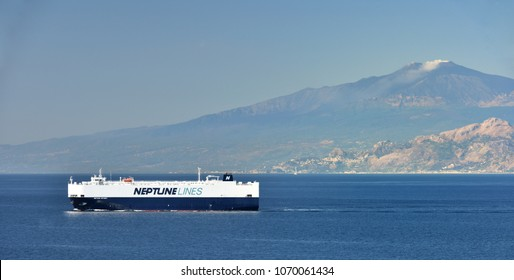 Neptune Odyssey, Messina Straits - September 2017:Neptune Odyssey vehicle transporter below Mount Etna