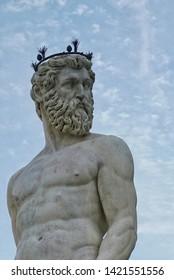 Neptune sculpture in Florance.Piazza della signoria.The Neptune fountain
