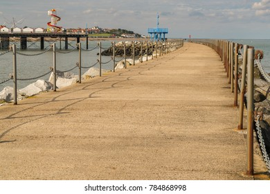 Neptunes Arm and the pier in in Herne Bay, Kent, England, UK