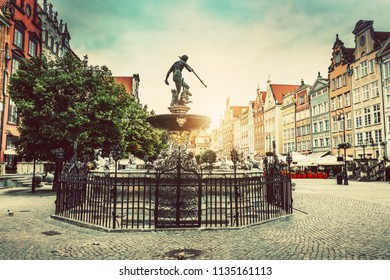 Neptune's fountain in the Old Town of Gdansk. Architecture and monuments. Poland.