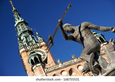 Neptune's Fountain with Town Hall in the background, Gdansk, Poland