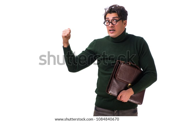 Nerd businessman with briefcase isolated on white