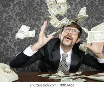 nerd businessman retro office flying dollar notes vintage wallpaper