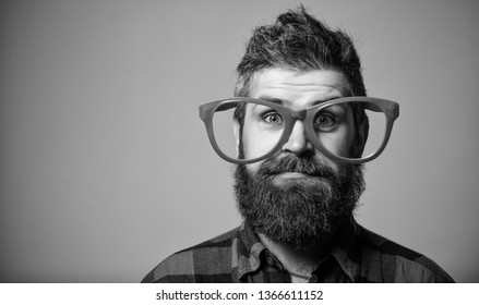 Nerd concept. Hipster looking through of giant pink eyeglasses. Man beard and mustache face wear funny big eyeglasses. Life in pink color. Naivety man. Naivety and simplicity. Adult but still naivety.