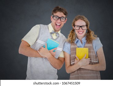 Nerd couple against grey background with grunge overlay